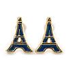 Children's/ Teen's / Kid's Small Navy Blue Enamel 'Eiffel Tower' Stud Earrings In Gold Plating - 12mm Length