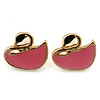 Children's/ Teen's / Kid's Small Pink Enamel 'Swan' Stud Earrings In Gold Plating - 10mm Width