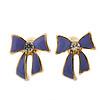 Children's/ Teen's / Kid's Small Purple Enamel 'Bow' Stud Earrings In Gold Plating - 10mm Length