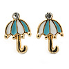 Children's/ Teen's / Kid's Small Light Blue, White Enamel 'Umbrella' Stud Earrings In Gold Plating - 11mm Length