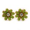 Children's/ Teen's / Kid's Tiny Salad Green Enamel 'Daisy' Stud Earrings In Gold Plating - 10mm Diameter