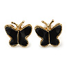 Children's/ Teen's / Kid's Small Black Enamel 'Butterfly' Stud Earrings In Gold Plating - 9mm Length