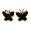 Children's/ Teen's / Kid's Small Black Enamel 'Butterfly' Stud Earrings In Gold Plating - 9mm Length