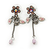 Vintage Inspired Pink Enamel Freshwater Pearl 'Flower & Ladybug' Drop Earrings In Antique Silver Tone - 50mm Length