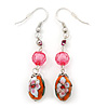 Floral Acrylic Bead Drop Earrings In Silver Tone - 60mm Length