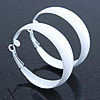 Wide Medium White Enamel Hoop Earrings - 45mm Diameter