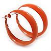Wide Medium Orange Enamel Hoop Earrings - 45mm Diameter