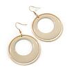 Cream Enamel Double Hoop Earrings In Gold Plating - 70mm Length
