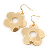 Polished Gold Plated 'Daisy' Floral Drop Earrings - 55mm Length