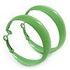 Medium Lime Green Enamel Hoop Earrings - 45mm Diameter