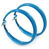 Large Sky Blue Enamel Hoop Earrings - 55mm Diameter
