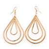 Gold Tone Teardrop Hoop Earrings - 80mm L