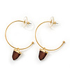 Medium Gold Plated Slim Hoop Earrings With Acorn Charm - 35mm Diameter
