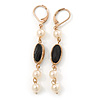 Vintage Inspired Simulated Pearl Beaded Drop Earrings With Leverback Closure In Gold Tone - 55mm Length