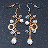 Gold Plated Acrylic Bead Chain Drop Earrings - 65mm Length