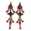 Vintage Inspired Red Enamel, Crystal, Bead Drop Earrings With Leverback Closure In Bronze Tone Metal - 65mm Length