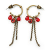 Small Vintage Inspired Bronze Tone Hoop Earrings With Cranberry Acrylic Beads & Chains - 55mm Length