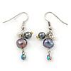 Black, Purple Cluster Freshwater Pearl Drop Earrings In Silver Tone - 40mm L