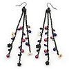Long Black Tone Chain Dangle Earrings With Purple Acrylic Beads - 13cm Length