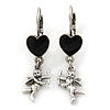 Vintage Inspired Silver Tone Black Enamel Heart, Angel Drop Earrings With Leverback Closure - 40mm Length