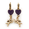 Vintage Inspired Gold Tone Purple Enamel Heart, Angel Drop Earrings With Leverback Closure - 40mm Length