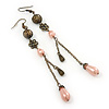 Vintage Inspired Bronze Tone Filigree, Pink Acrylic Bead, Chain Drop Earrings - 11cm Length