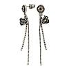 Vintage Inspired Burn Silver Tone Crystal Tassel Drop Earrings - 60mm Length