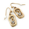 Vintage Inspired Open-Cut Square With Crystal Dangle Drop Earrings In Gold Tone - 30mm Length