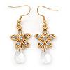 Matt Gold Tone Crystal Flower Drop Earrings - 55mm Length