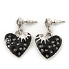 Vintage Inspired Black Enamel, Crystal 'Heart' Drop Earrings In Silver Tone Metal - 33mm Length