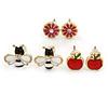 Children's/ Teen's / Kid's Red Apple, Pink Flower, Black/ White Bee Stud Earring Set In Gold Tone - 8-10mm