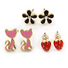 Children's/ Teen's / Kid's Black Flower, Red Strawberry, Pink Cat Stud Earring Set In Gold Tone - 10-12mm