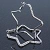 Medium Silver Plated Clear Austrian Crystal 'Star' Hoop Earrings - 55mm Diameter