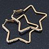 Medium Gold Plated Clear Crystal 'Star' Hoop Earrings - 55mm Diameter