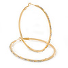 Large Oval Crystal Hoop Earrings In Gold Plating - 70mm L