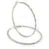 Large Oval Crystal Hoop Earrings In Rhodium Plating - 70mm L