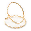 Large Gold Plated Clear Austrain Crystal Wavy Hoop Earrings - 60mm D