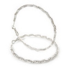 Large Rhodium Plated Clear Austrian Crystal Wavy Hoop Earrings - 60mm D