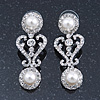 Bridal Wedding Prom Simulated Glass Pearl, Crystal Drop Earrings In Rhodium Plating - 45mm Length