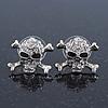 Rhodium Plated Crystal 'Skull & Crossbones' Stud Earrings - 15mm Length