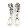 Bridal, Prom, Wedding Austrian Crystal, White Simulated Glass Pearl 'Rose' Drop Earrings In Rhodium Plating - 60mm Length