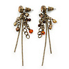 Vintage Inspired Bead And Chain Drop Earrings In Antique Gold Metal - 60mm Length