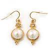 Vintage Inspired White Simulated Pearl Drop Earrings In Gold Plating - 35mm Length