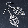 Light Silver Tone Leaf Drop Earrings - 55mm L