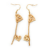 Matte Gold Tone Double Heart Chain Drop Earrings - 70mm Length