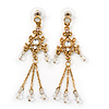 Vintage Inspired Gold Plated, Transparent Glass Bead Chain Tassel Drop Earrings - 65mm Length