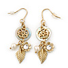 Gold Plated Flower, Leaf, Freshwater Pearl Drop Earrings - 45mm Length