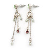 Vintage Inspired Freshwater Pearl, Crystal Chain Tassel Drop Earrings In Light Silver Tone - 55mm Length