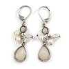 Off White Acrylic Bead, Simulated Pearl Drop Earrings With Leverback Closure In Silver Tone - 45mm L