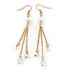 Long Gold Tone White Faux Pearl Chain Dangle Earrings - 8cm Length